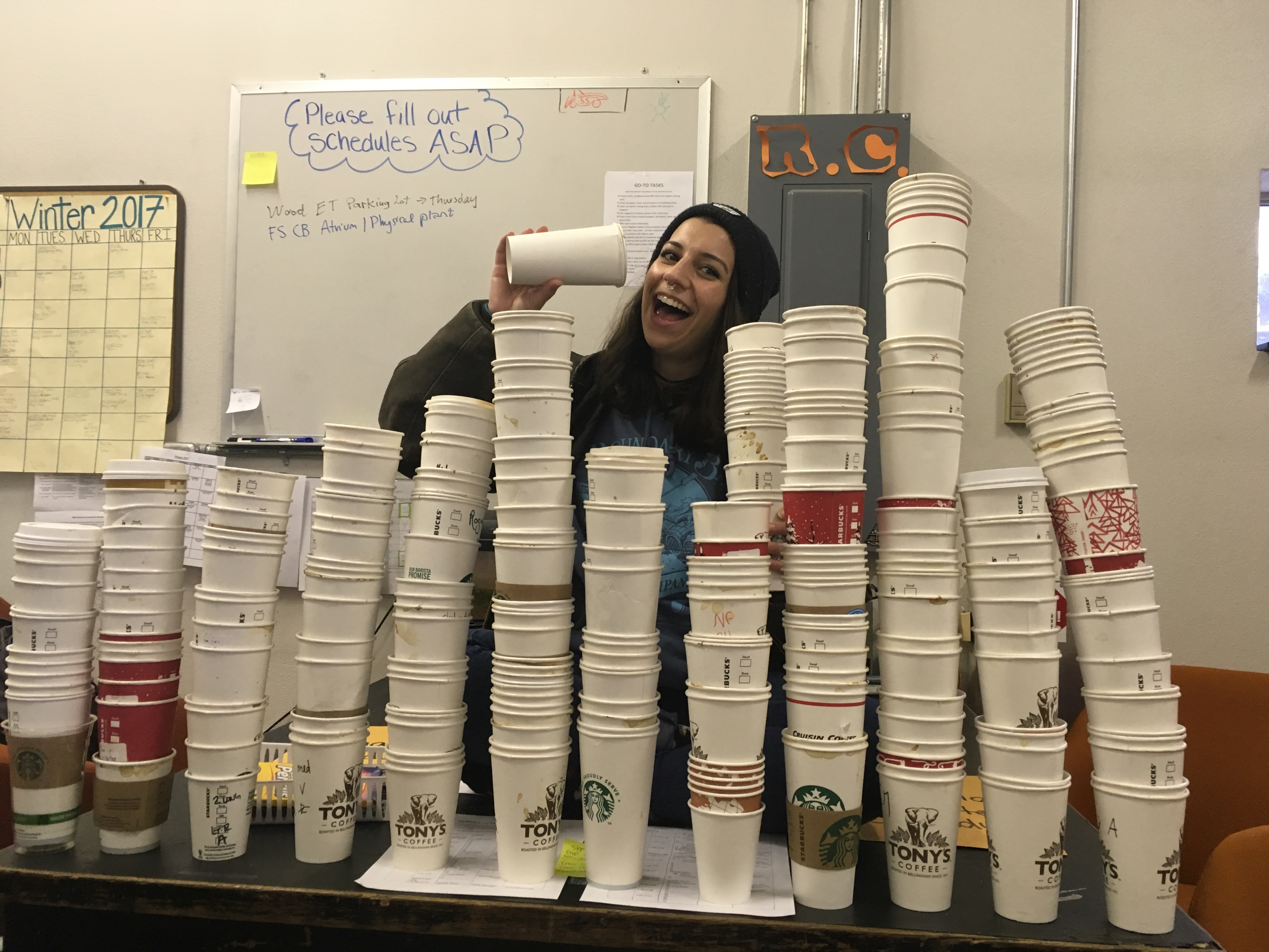 Stacks and stacks of coffee cups that were collected from the recycling! They are compostable though.... :(